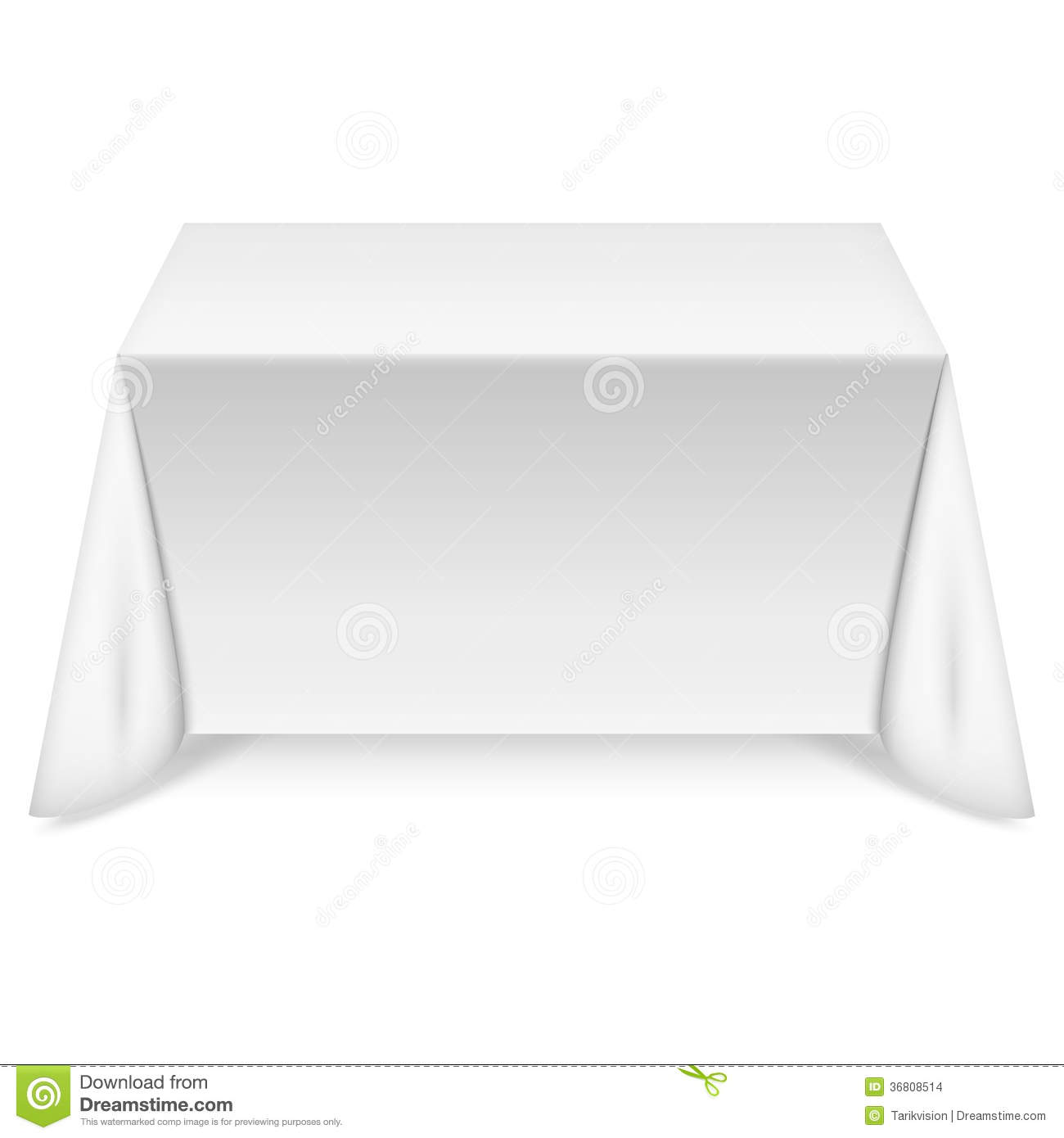 Table Blanche Rectangulaire Table Rectangulaire Avec La Nappe Blanche Illustration De