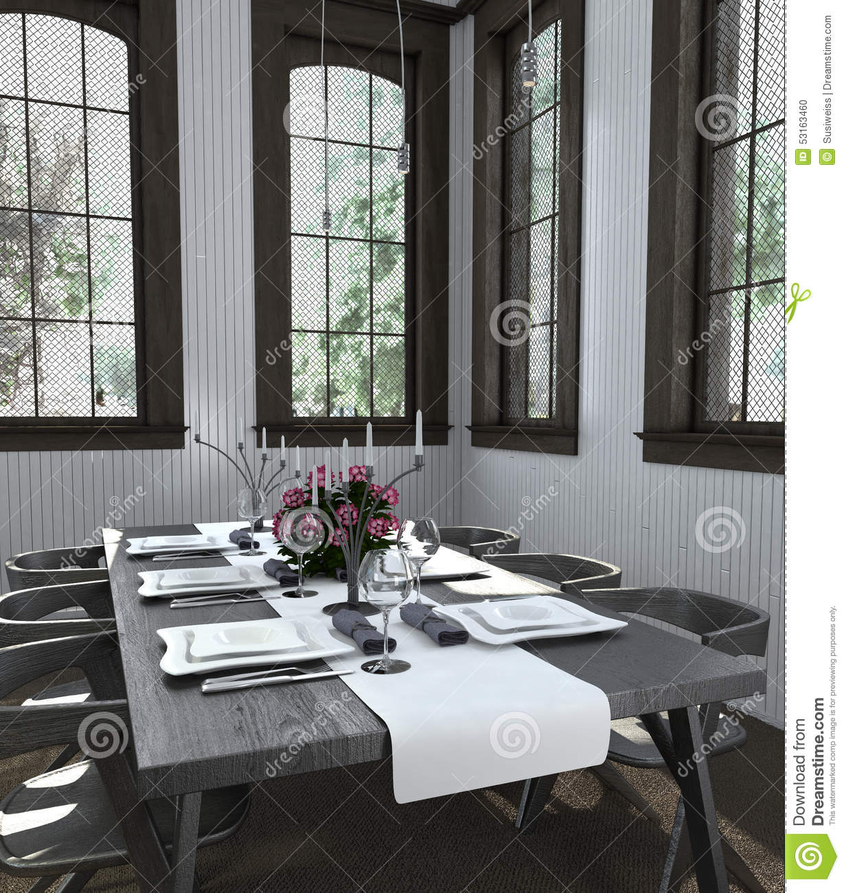 Modern Table Setting Table Set With White Dishes In Bright Dining Room Stock