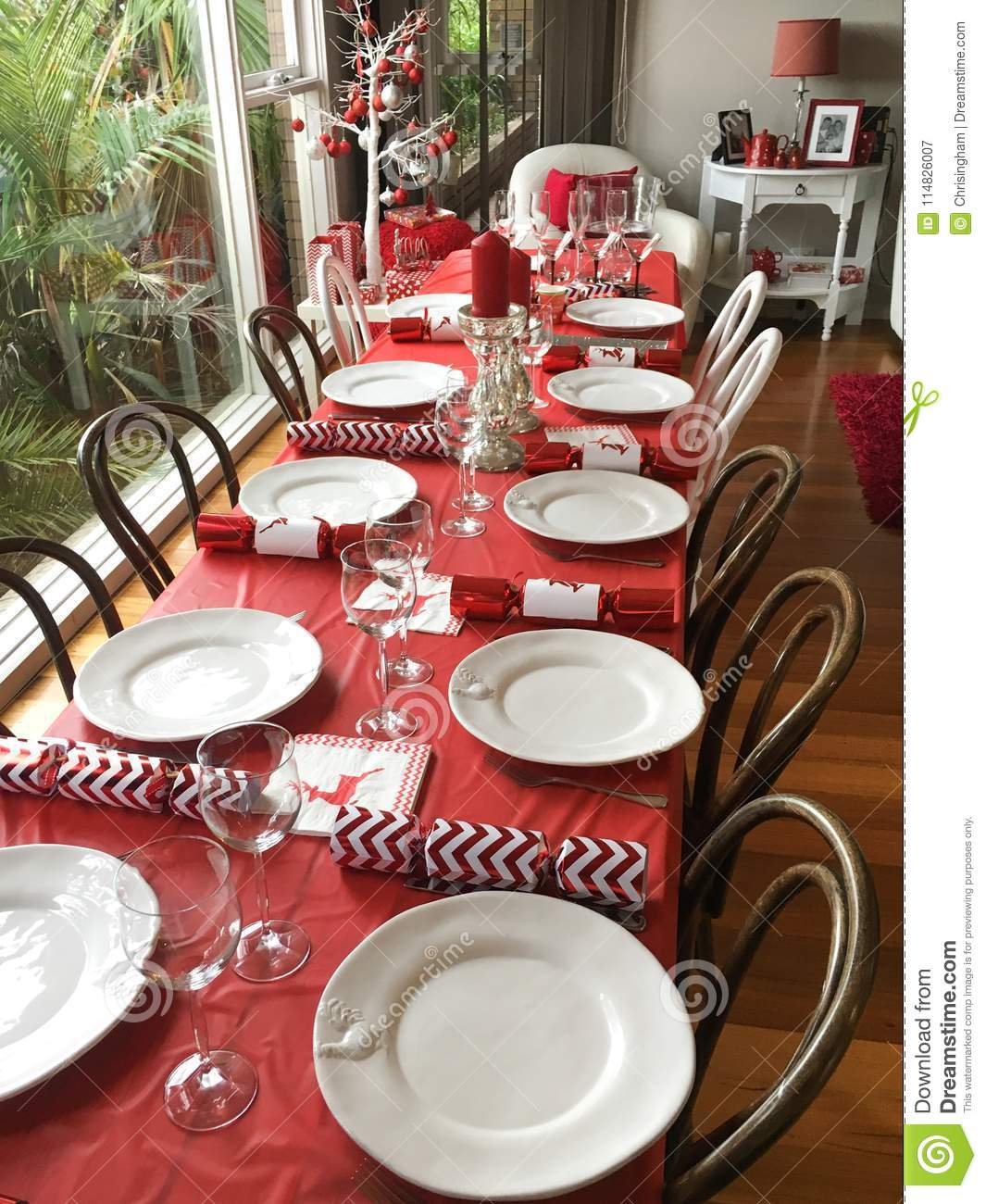 Christmas Tablecloths Australia Table Setting For Christmas Lunch Stock Image Image Of Napkin