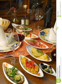 Table Setting Of Spanish Tapas Stock Photo - Image of ...