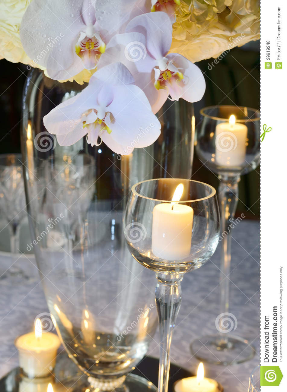6 Chair Dining Table Wedding Table Decoration Stock Photo. Image Of Drink