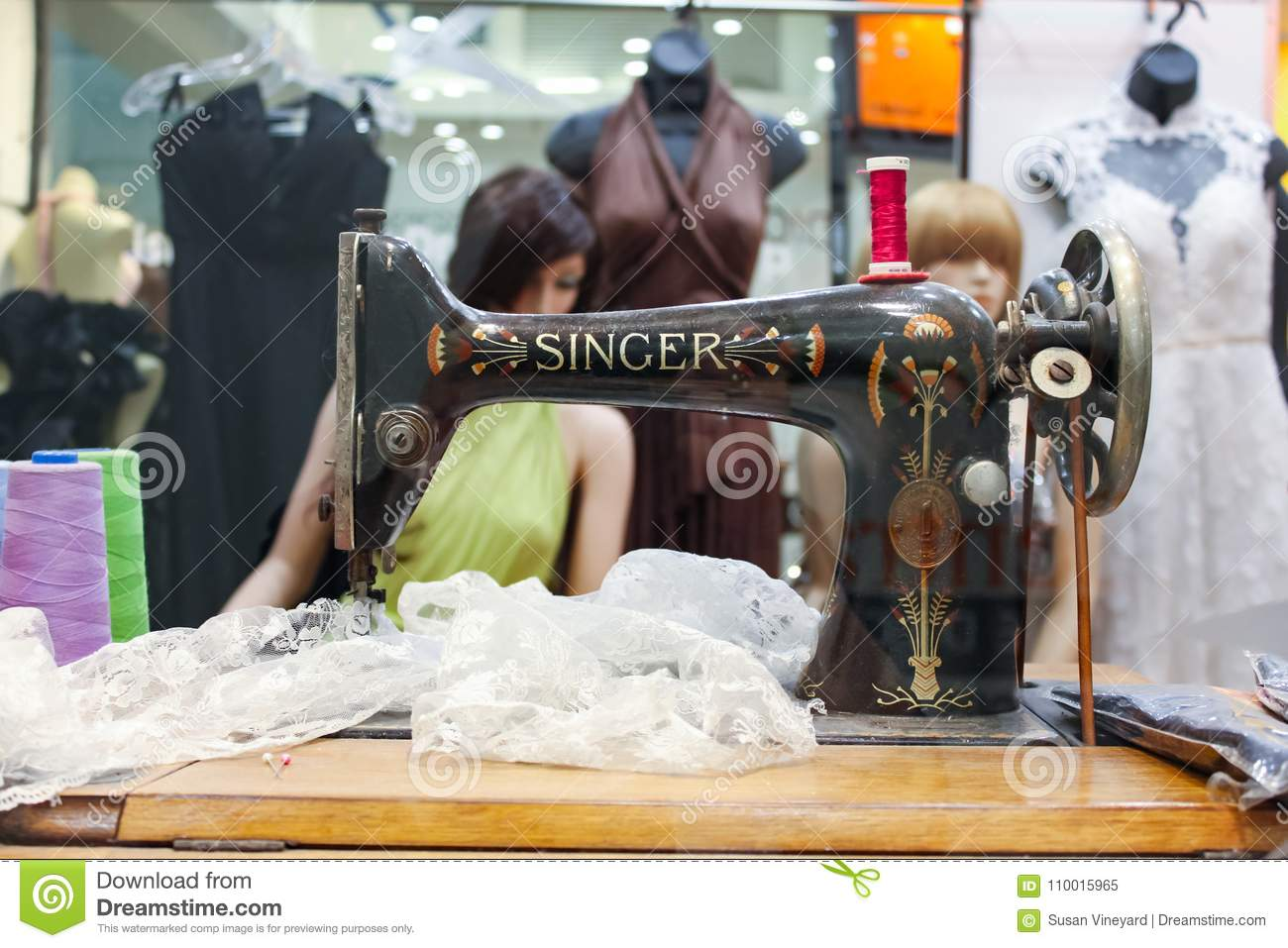 Cheap Sewing Machines Australia Tailor Shop Window Featuring Vintage Singer Sewing Machine With