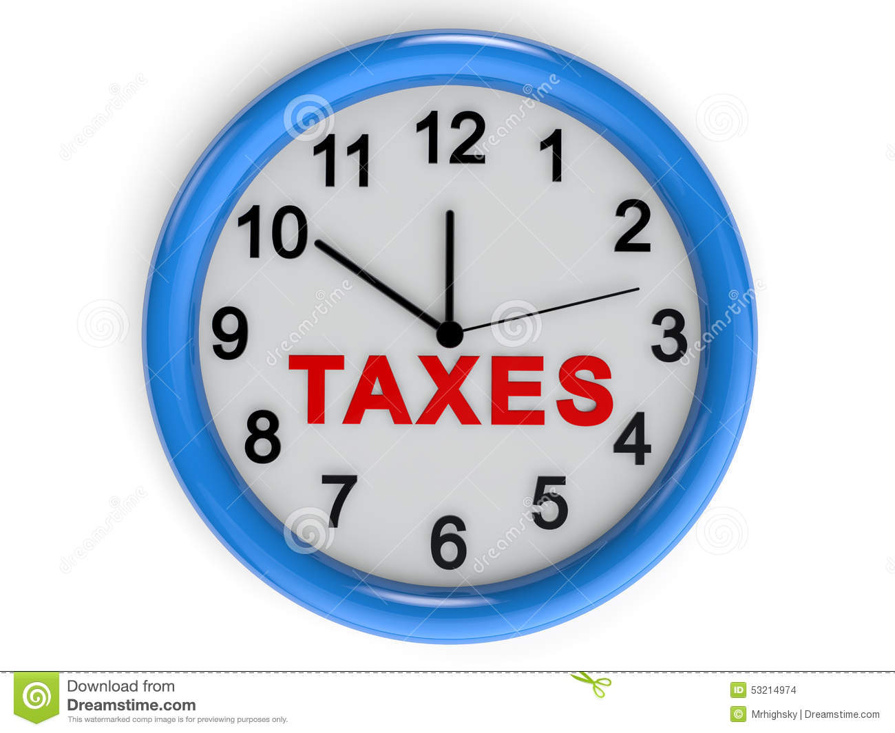 Word Wall Clock Taxes Time Stock Illustration Image 53214974