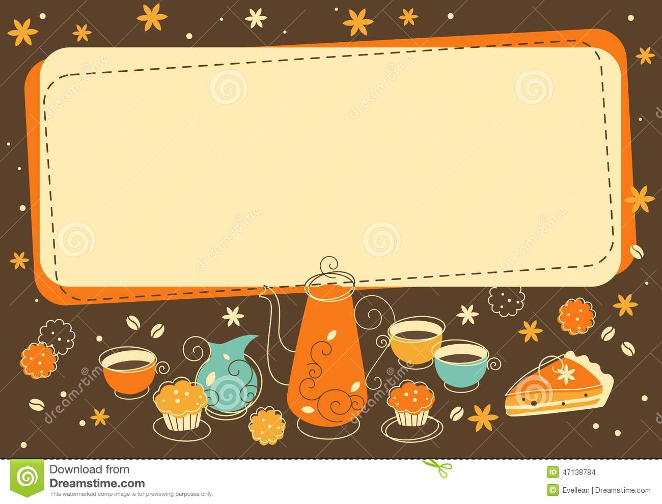 Cute Wedding Cartoon Wallpaper Tea And Bakery Background In Doodle Retro Style Stock