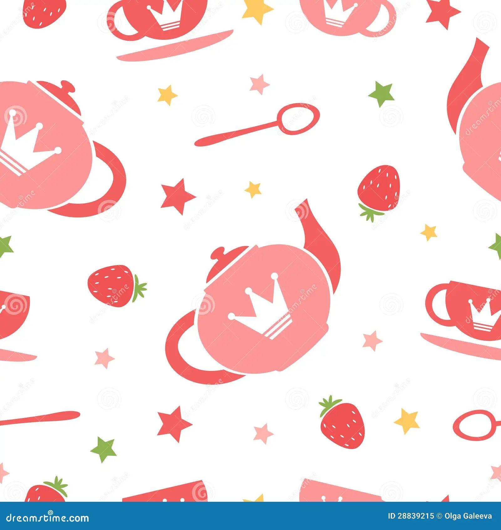 Royalty free stock photo background cute seamless tea