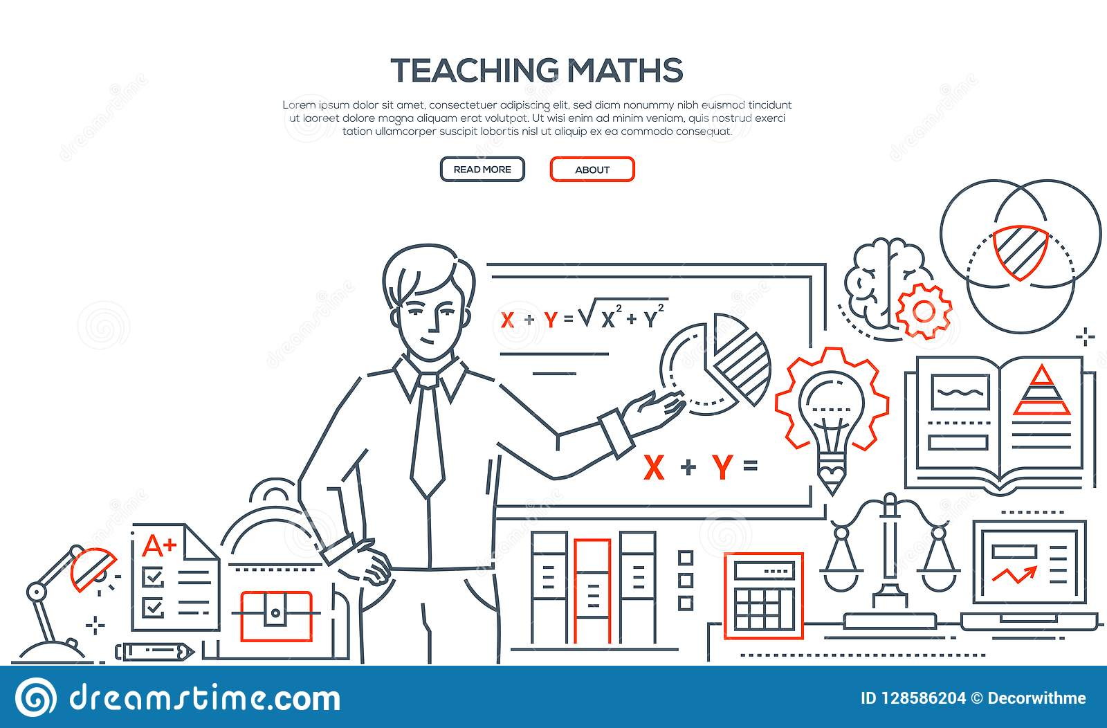 Teaching Maths Teaching Maths Colorful Line Design Style Banner Stock Vector