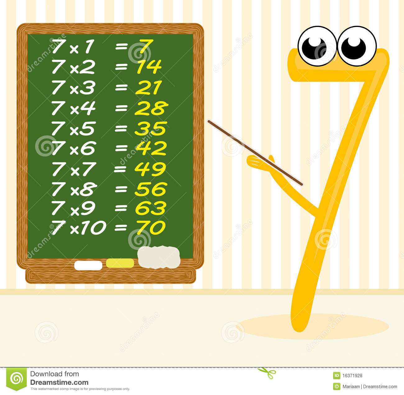 Table De Multiplication De 7 Teaching Multiplication Number 7 Royalty Free Stock