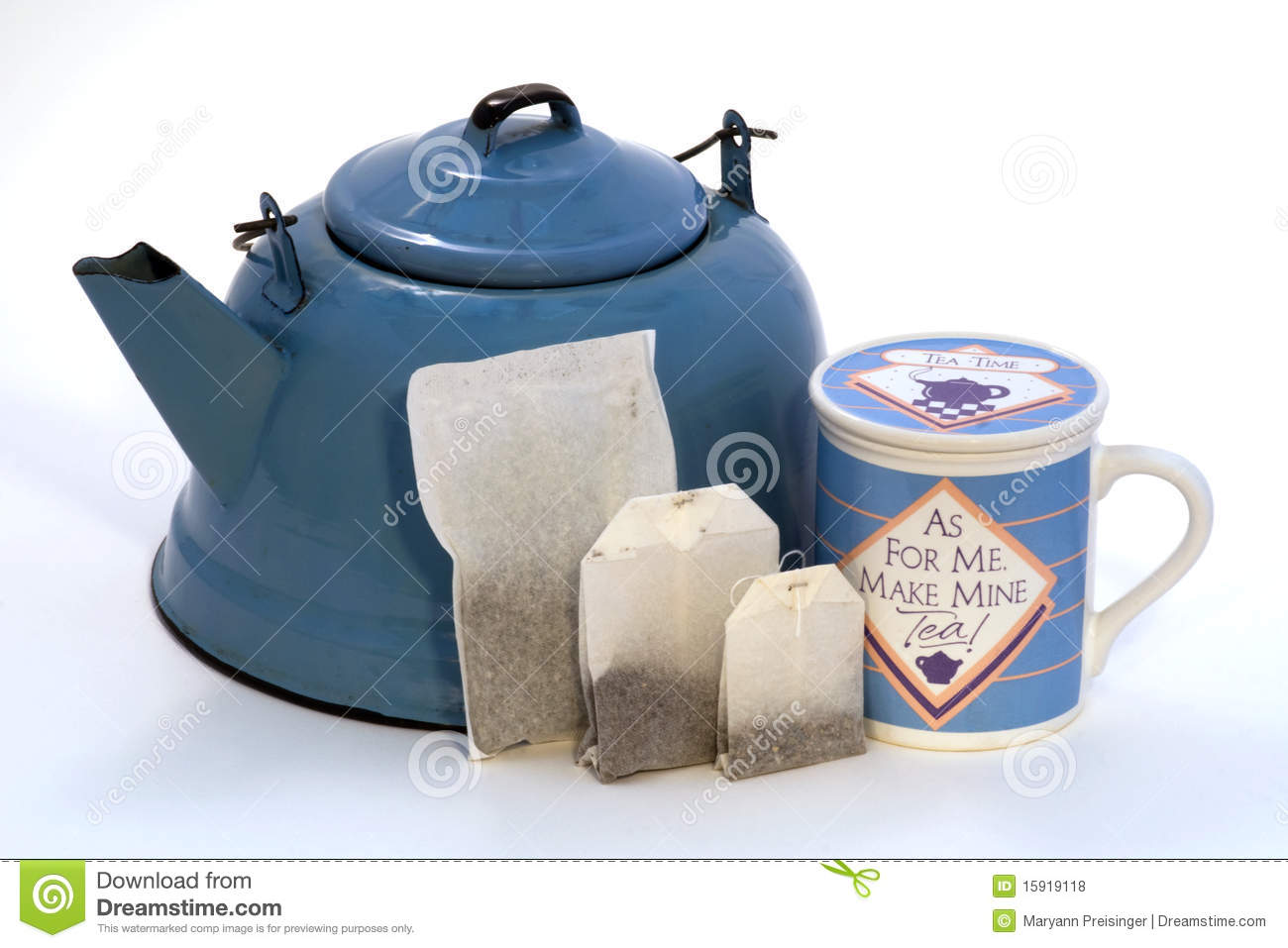 Making Tea In A Teapot Teakettle Tea Bags In Sizes Teacup With Lid Stock Photo