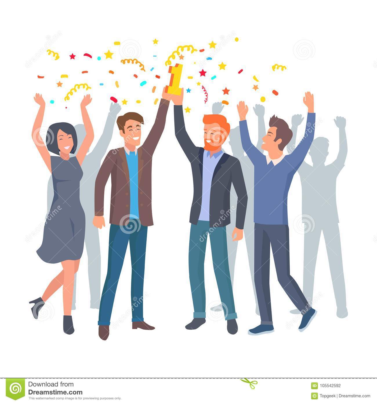 Sieger Clipart Team Of Colleagues Celebrate Win In Startup Vector Stock
