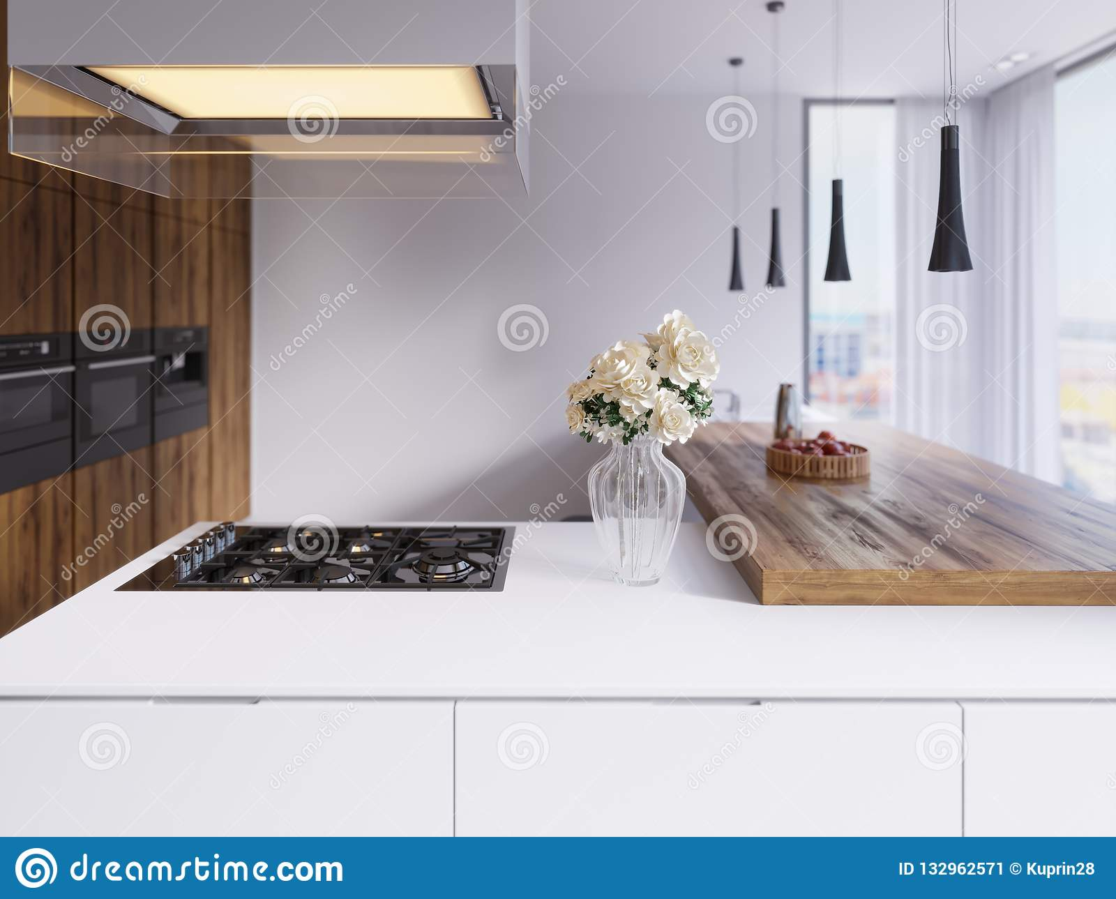 Technological Modern Kitchen In A Minimalist Style With A New Generation Of Appliances Hob Illuminated Glass Hood Ceiling Stock Illustration Illustration Of Glass Countertops 132962571