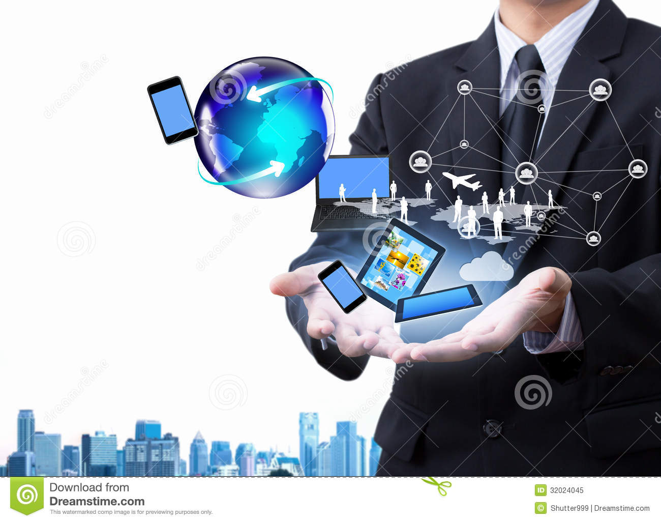 New 3d Animation Wallpaper Technology In Business Hand Royalty Free Stock Photo