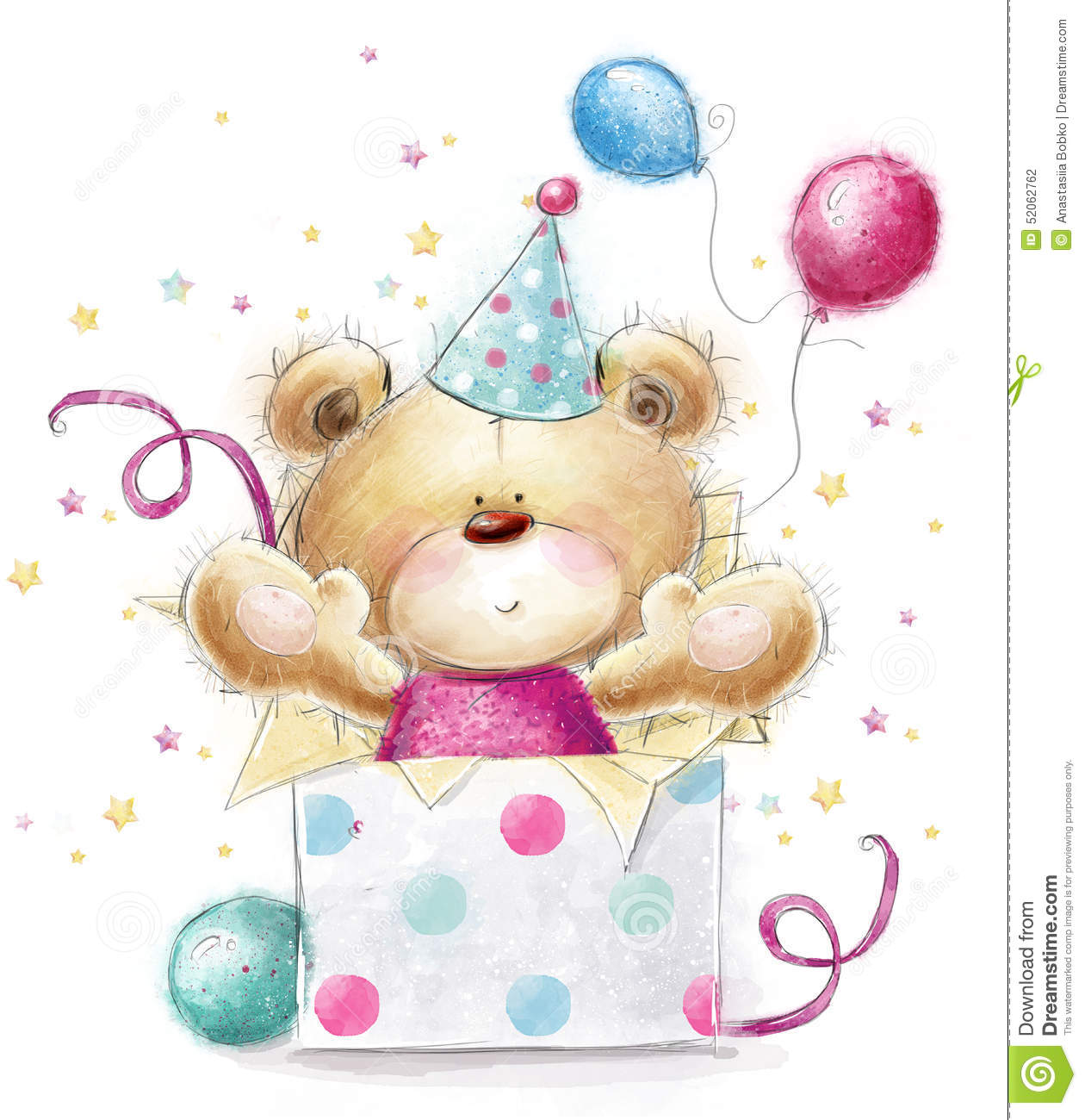 Carte Cadeau Wish Teddy Bear With The Gift Happy Birthday Card Stock