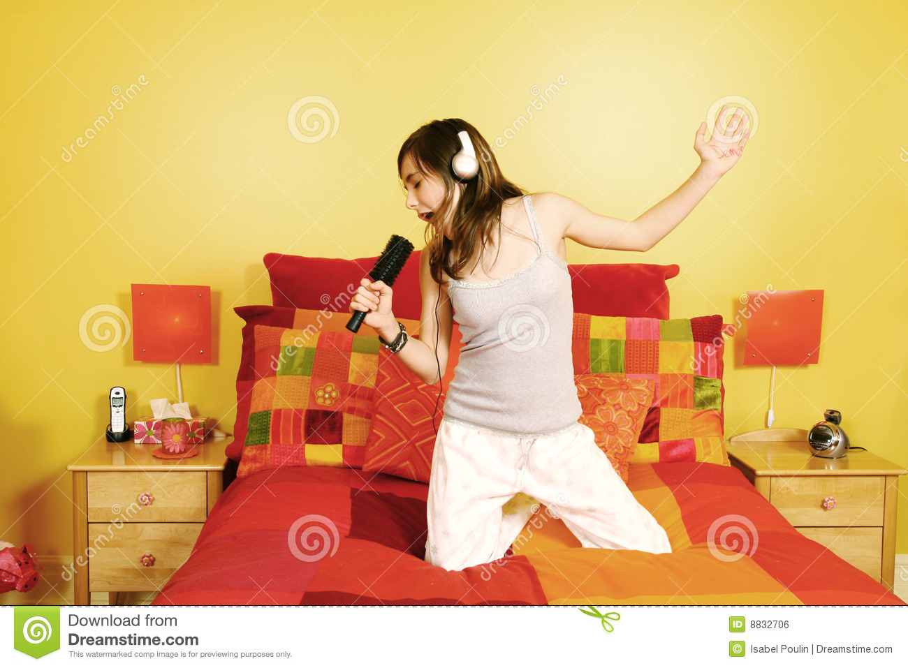 How To Be More Confident In Bed Teen Girl Singing In Bedroom Stock Photo Image 8832706