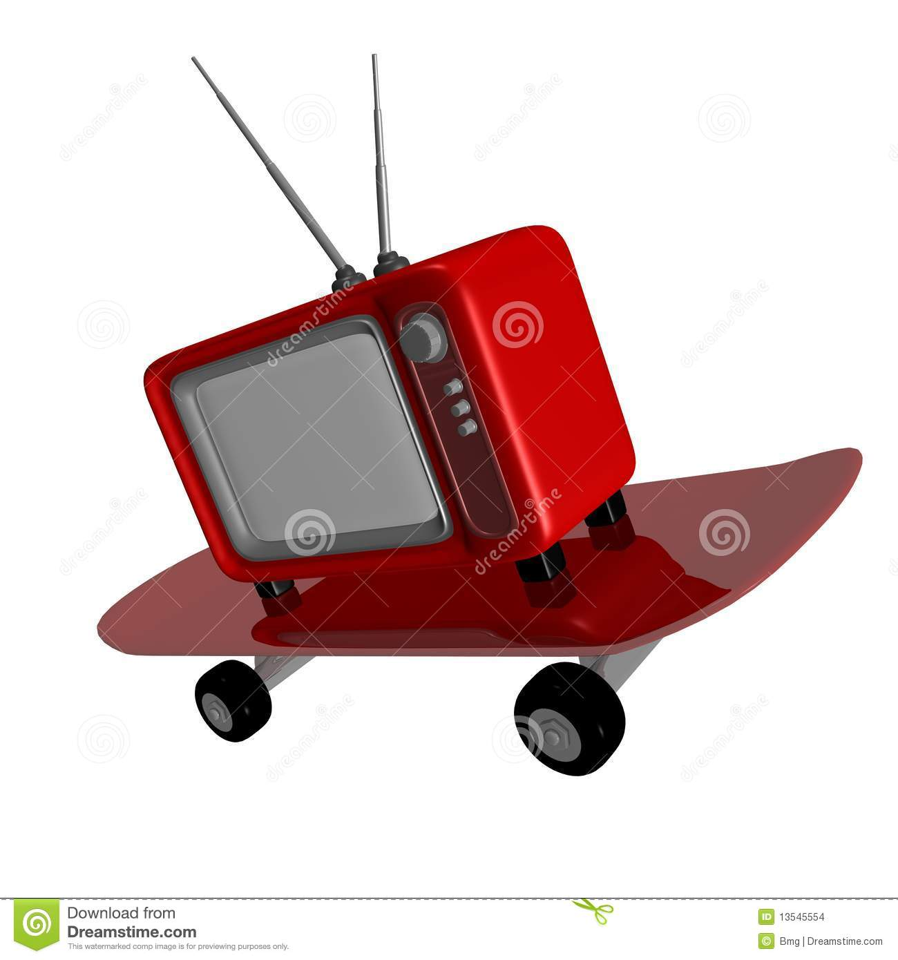 Tv Longboard Television Skateboard Stock Images Image 13545554