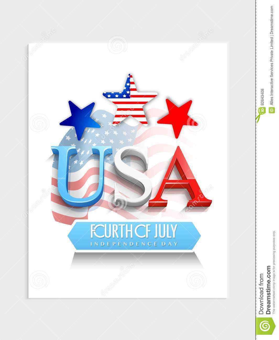 Template, Banner Or Flyer For 4th Of July Stock Illustration - 4th of july template