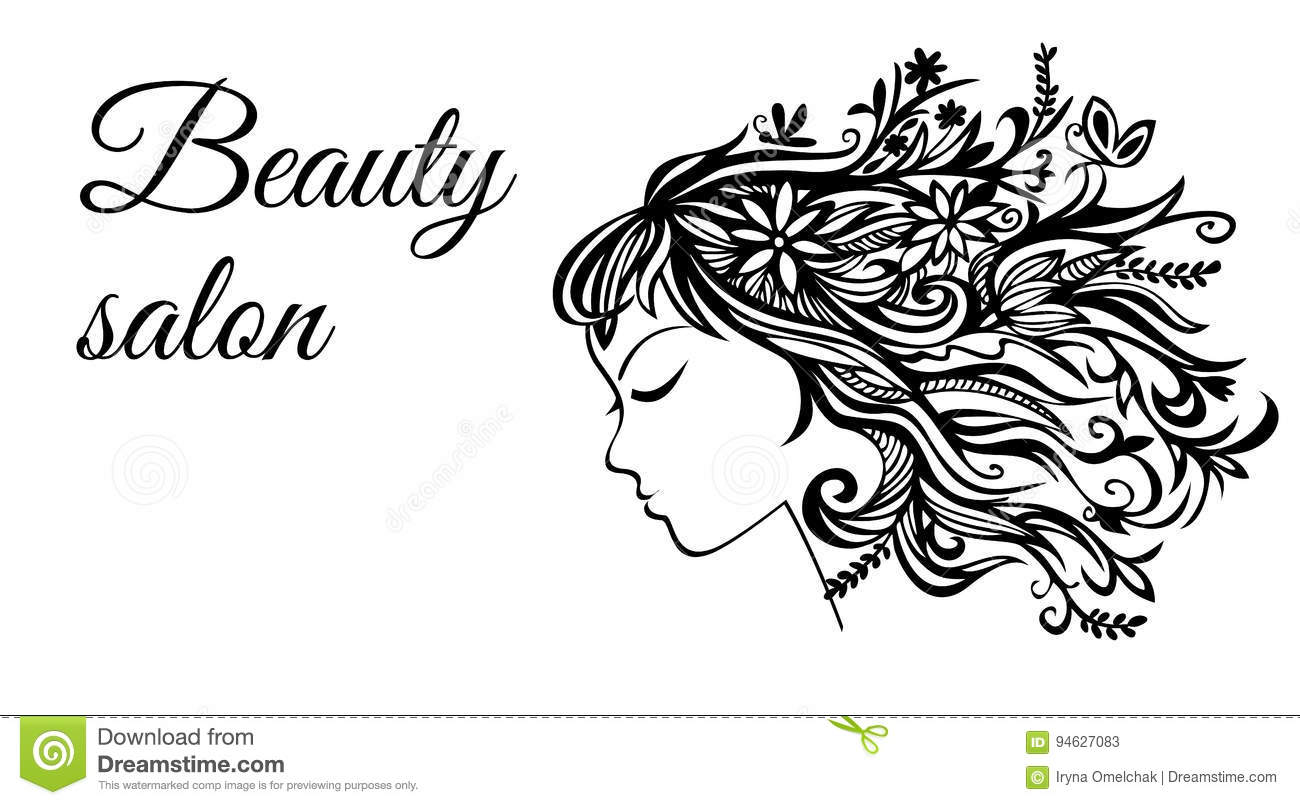 The Template For The Female Beauty Salon Shows A Profile Of A Girl With Hair Made Of Flowers Stock Vector Illustration Of Glamour Decorations 94627083