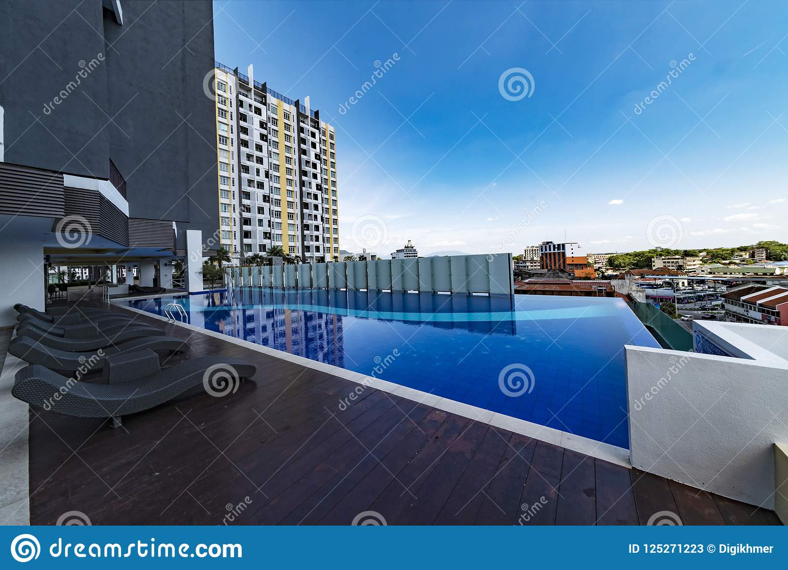 Pool Terrasse Terrasse And Swimming Pool Of Malaysian Condominium Stock Image