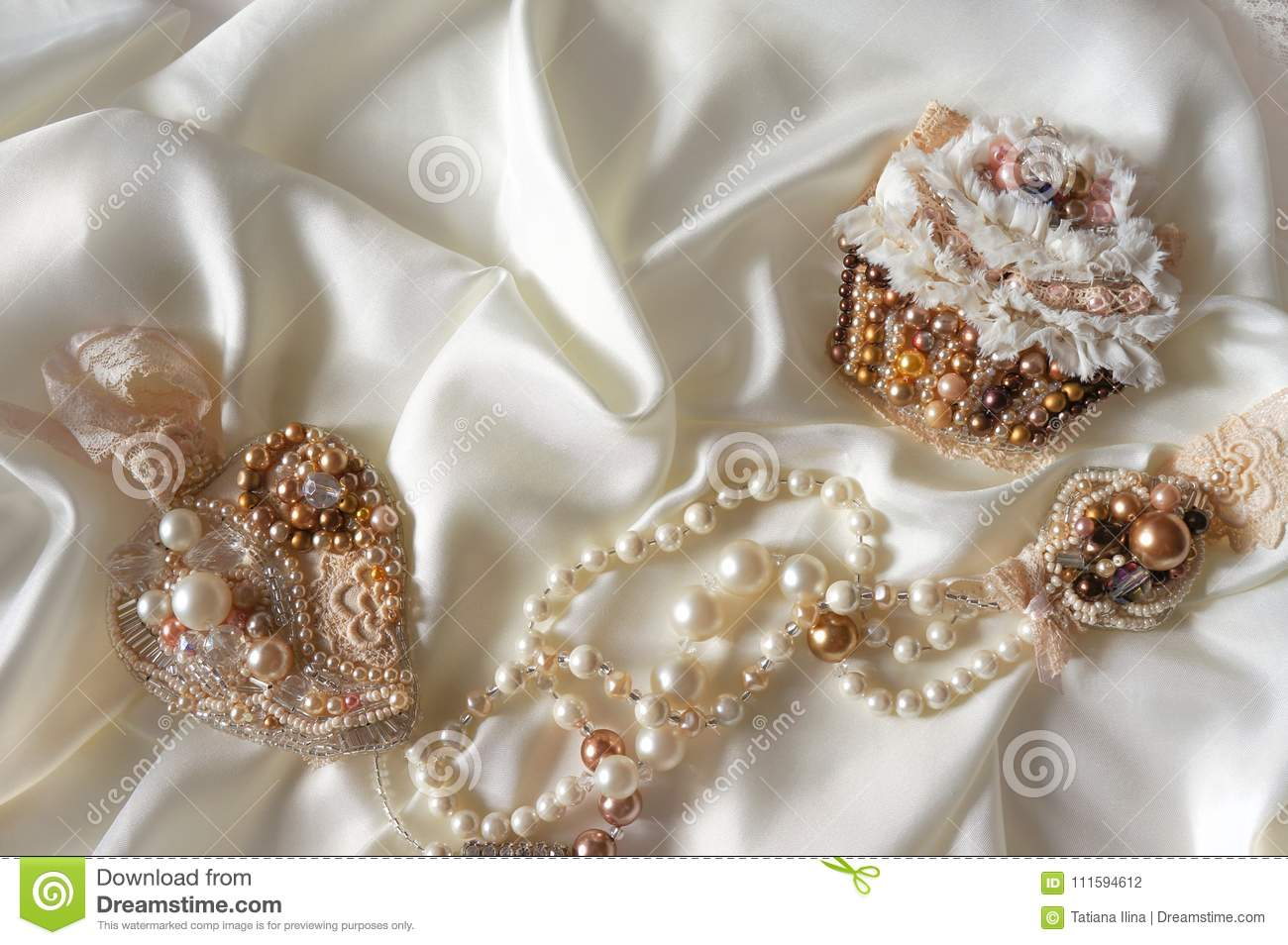 Where To Get Bridal Jewelry Textile Wedding Background With Hand Made Bridal Jewelry Stock