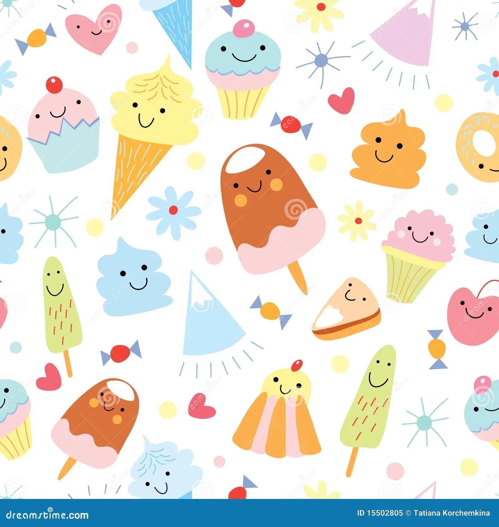 Blue Animal Print Wallpaper Texture Of Fun Ice Cream And Cake Stock Vector