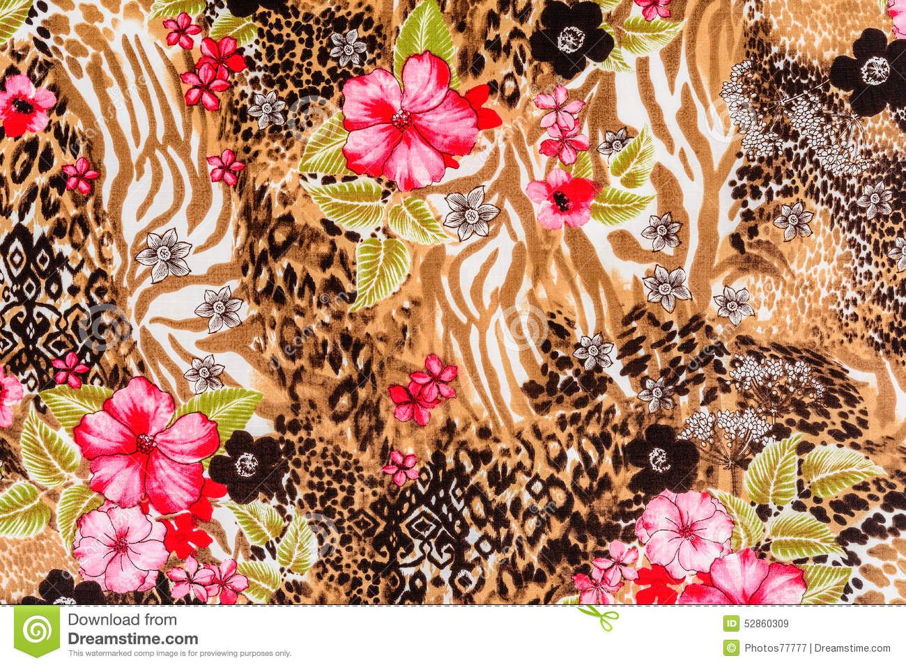 Colorful Animal Print Wallpaper Texture Of Print Fabric Striped Leopard And Flower Stock