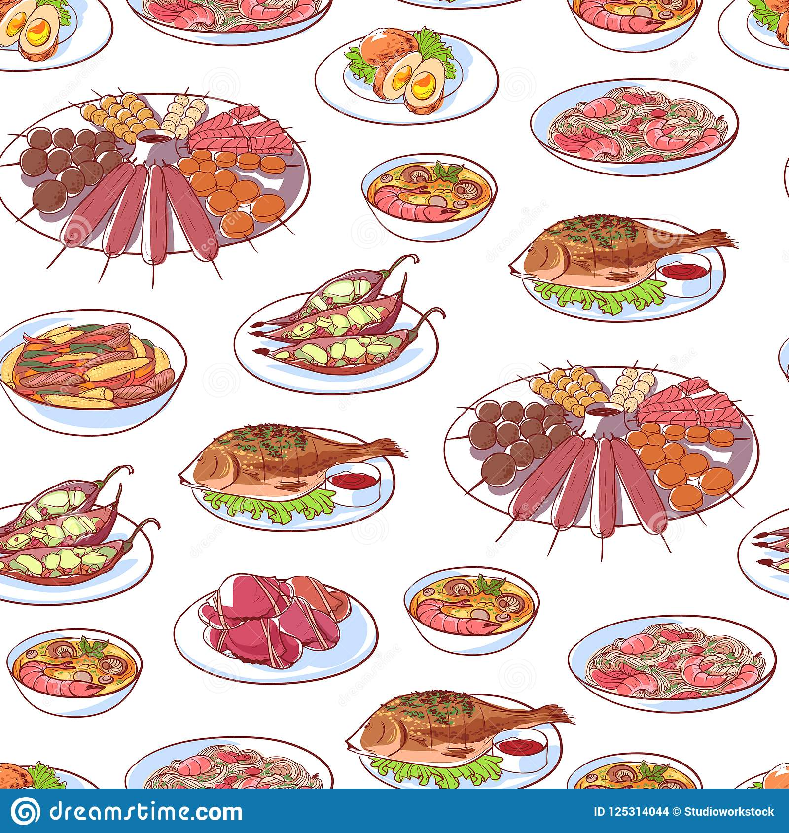 Cuisine Yam Thai Cuisine Dishes On White Background Stock Illustration