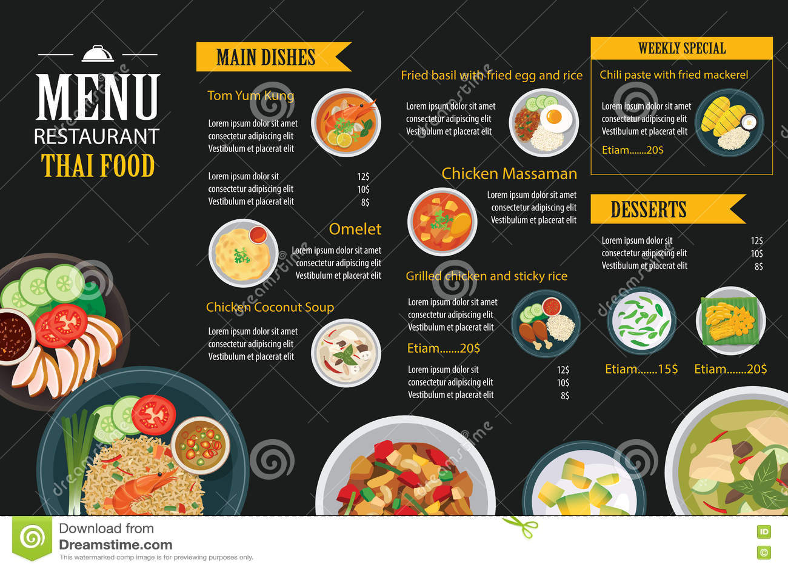 Restaurant Business Plan Template Thai Food Restaurant Menu Template Flat Design Stock