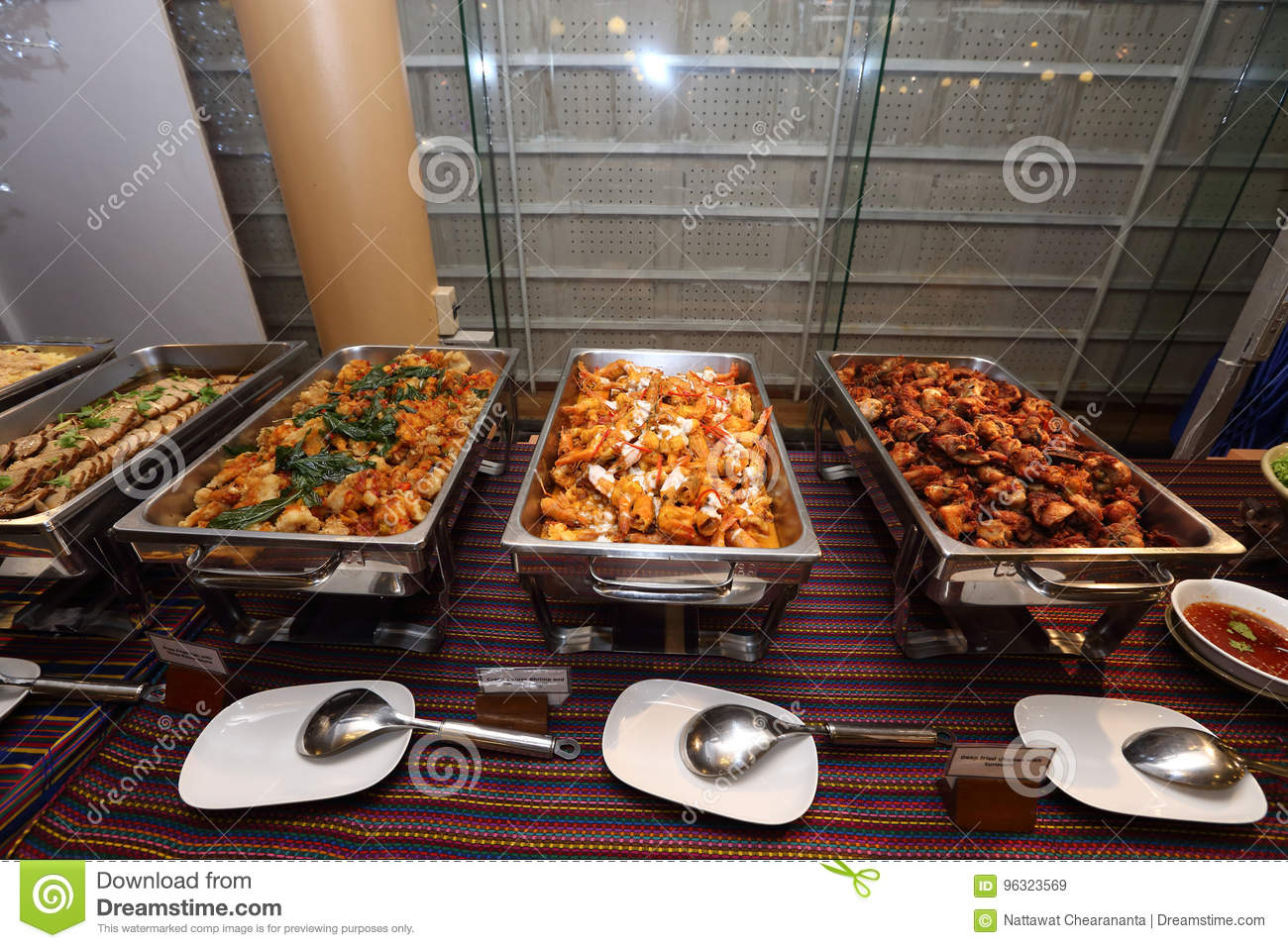 Hot Cuisine Thai Spicy Food In Buffet Catering Plate Ready To Eat