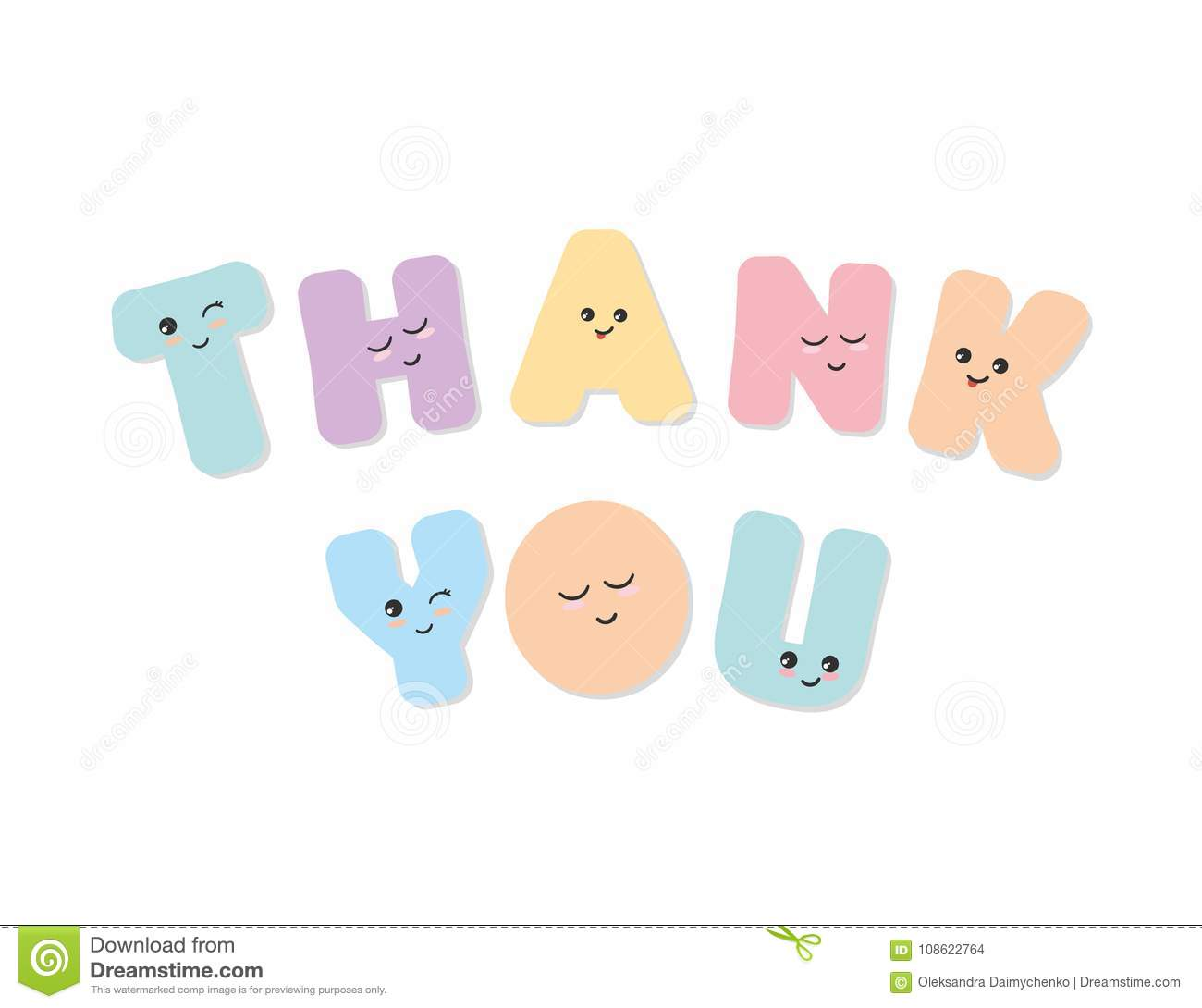 Cute Stickers For Facebook Thank You Inscription Kawaii Bold Colorful Letters Cute Stickers