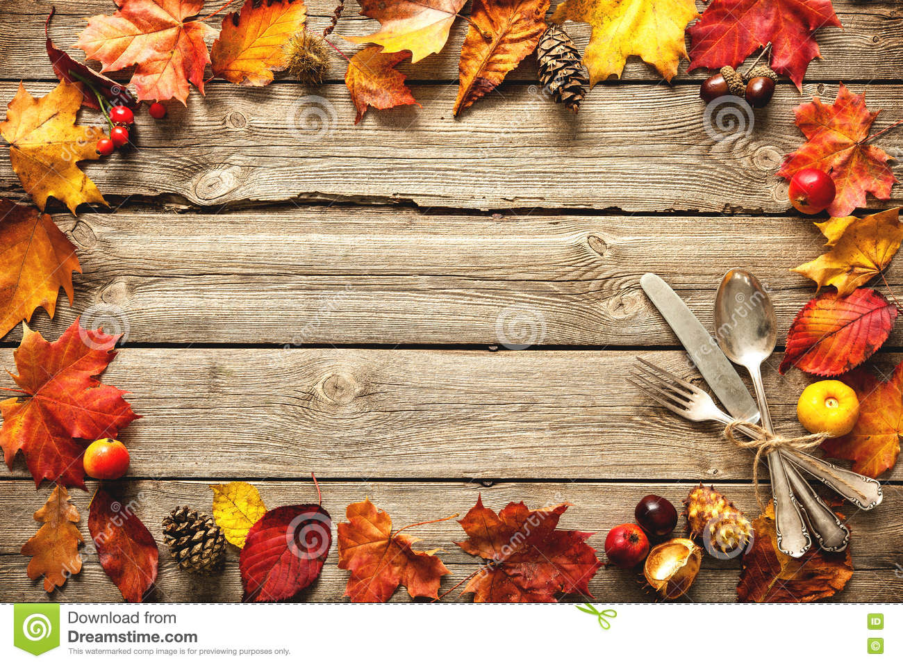 Fall Leaves Wallpaper Border Thanksgiving Autumn Background With The Vintage Silverware