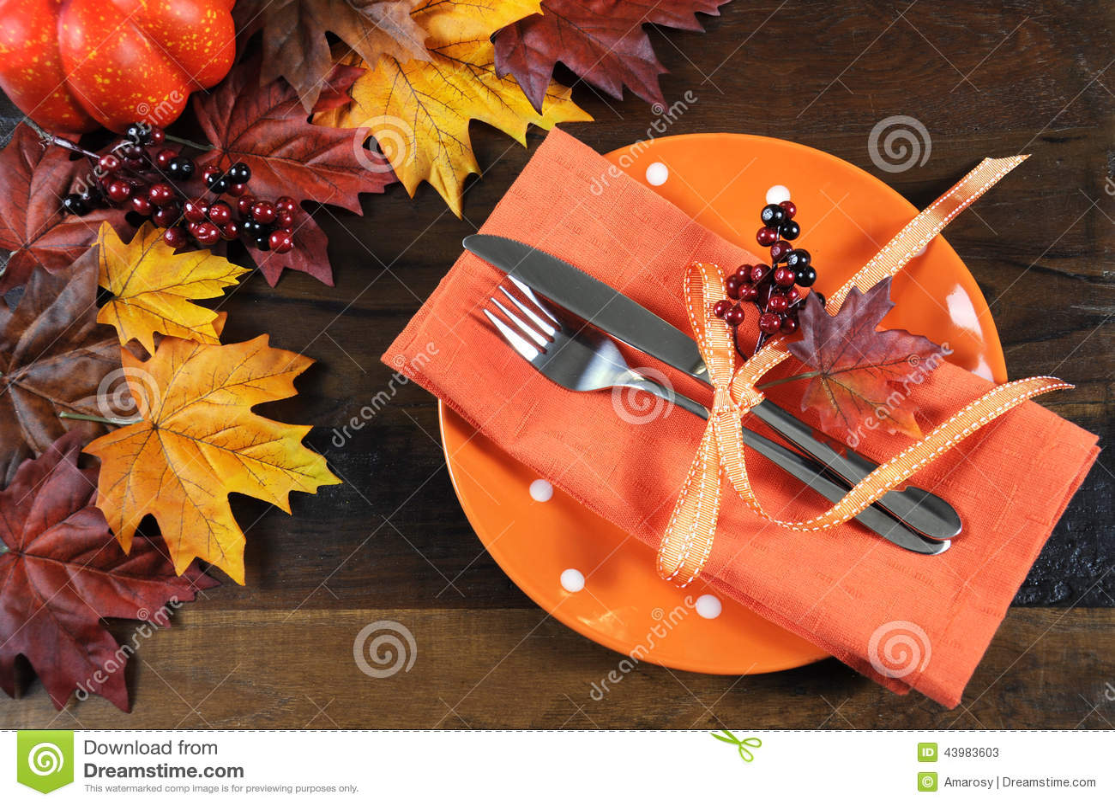 Dark Fall Wallpaper Thanksgiving Table Place Setting Stock Photo Image