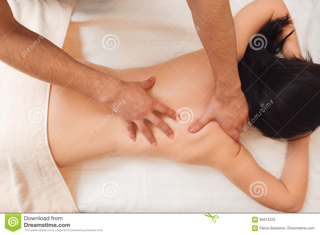 Healing Treatment Therapist Doing Healing Treatment On Woman Back Stock Image