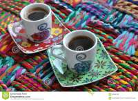 Three Bright Coffee Cups With Hot Espresso On A Colorful ...