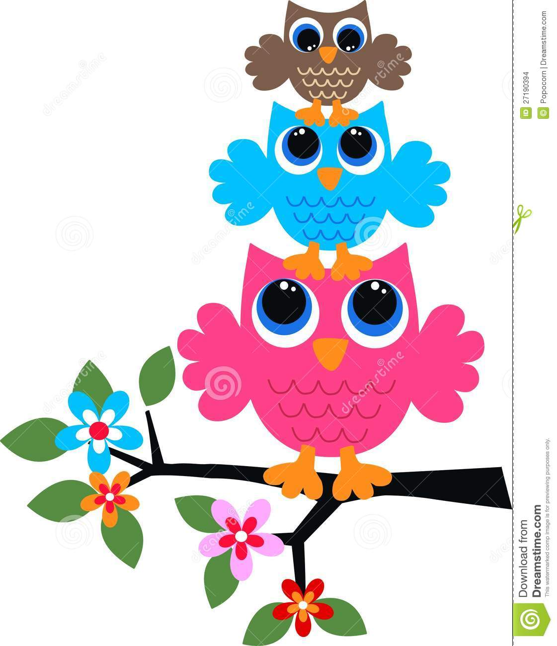 Colorful Pictures Of Owls Three Colorful Owls Stock Images Image 27190394