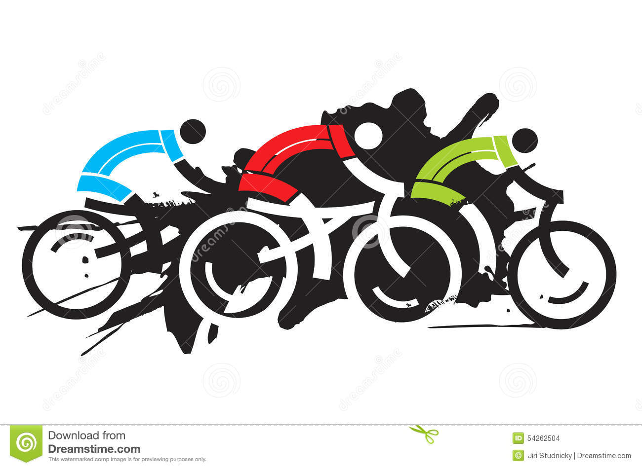 Racing Bicycle Clipart Three Cyclist Racers Stock Vector Image Of Leisure Bike