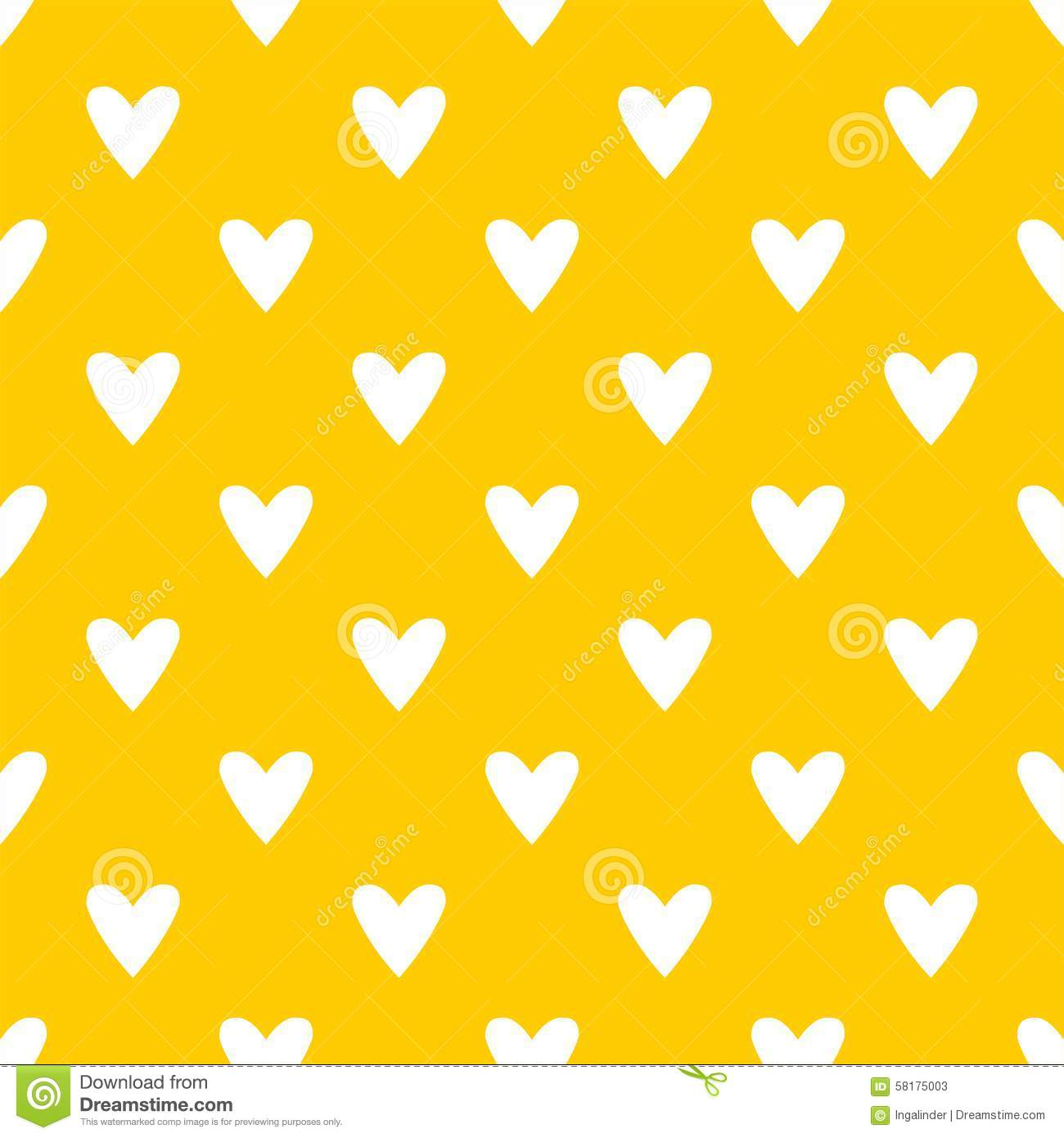 3d Love Red Heart Wallpaper Tile Cute Vector Pattern With White Hearts On Yellow