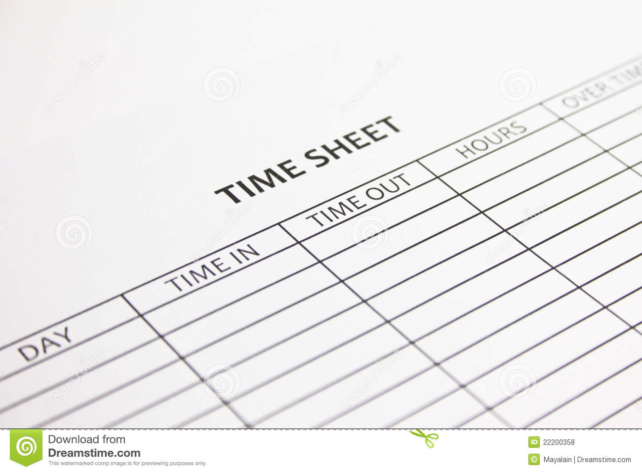 Daily Time Sheet Form Samplewords Forms Documents Time Sheet Royalty Free Stock Photos Image 22200358