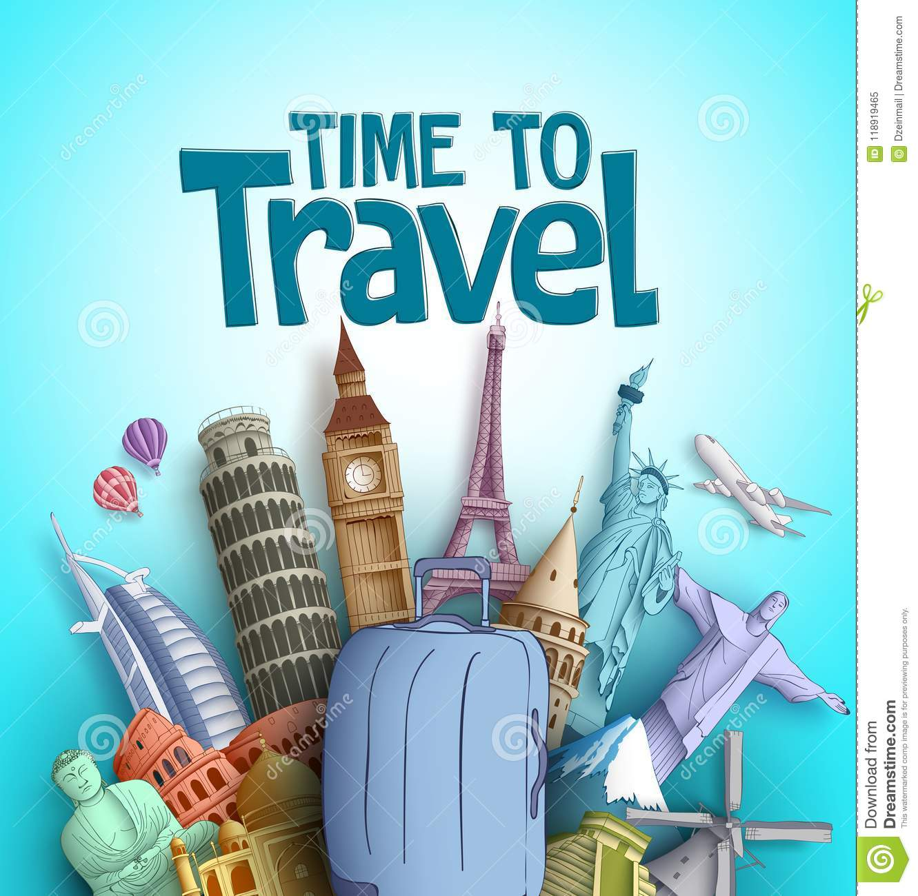 Tourism Destinations Time To Travel Vector Design With Famous Tourism Destinations And