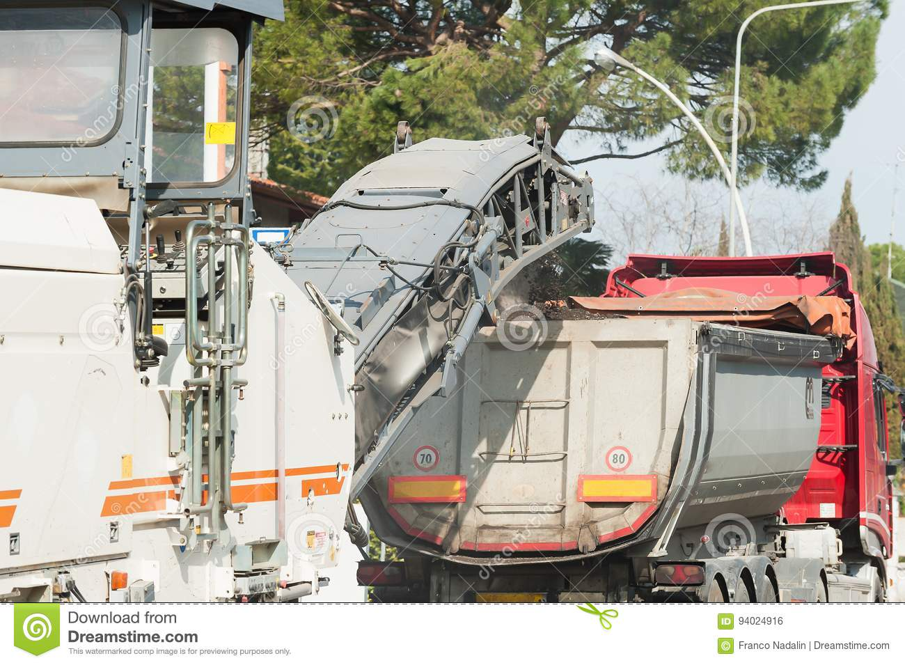 Tipper Truck Used In Work Of Asphalting Road Construction Stock