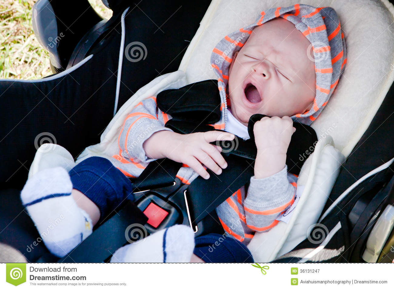 Infant Carrier For Small Car Tired Baby In Car Seat Royalty Free Stock Photography