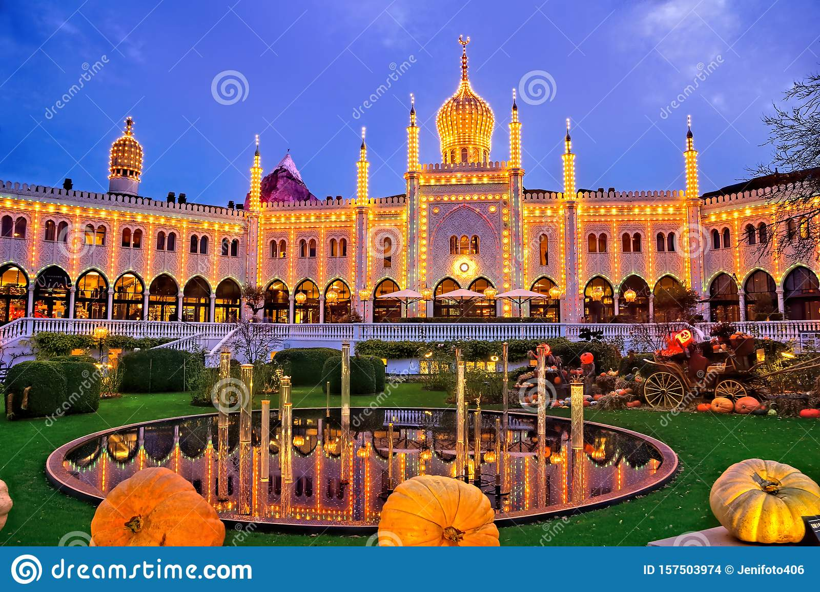 Tivoli Gardens During Halloween With Pumpkins Copenhagen Denmark Stock Photo Image Of Denmark Dome 157503974