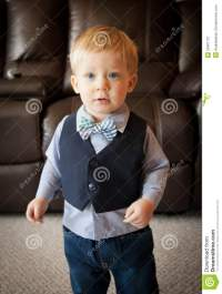 Toddler Boy Wearing Bow Tie And Suit Vest Stock Photo ...