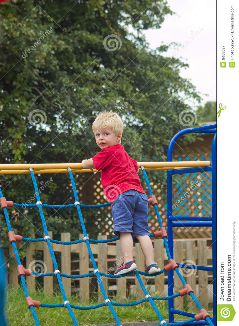 Child Toddler Toddler Climbing On Frame Royalty Free Stock Photography