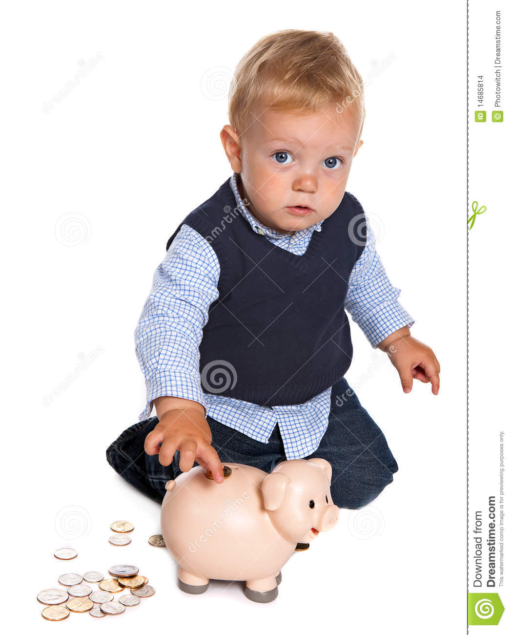 Piggy Banks For Little Boys Toddler With Piggy Bank Stock Images Image 14685814