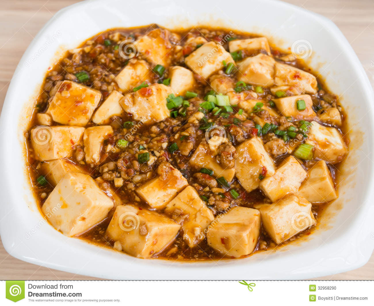 Hot Cuisine Tofu And Mince With Hot Spicy Sauce Stock Photo Image Of