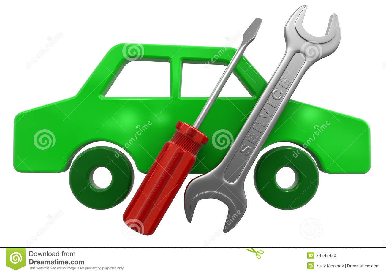 Tools Auto Tools And Car Icon Clipping Path Included Stock Photo