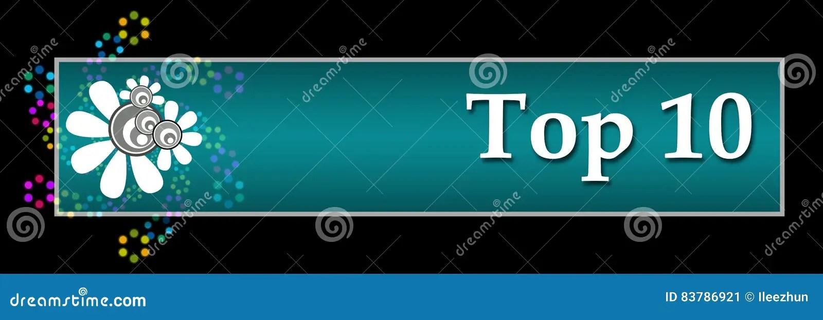 Top Ten Dark Colorful Neon Horizontal Stock Illustration - words for achievement