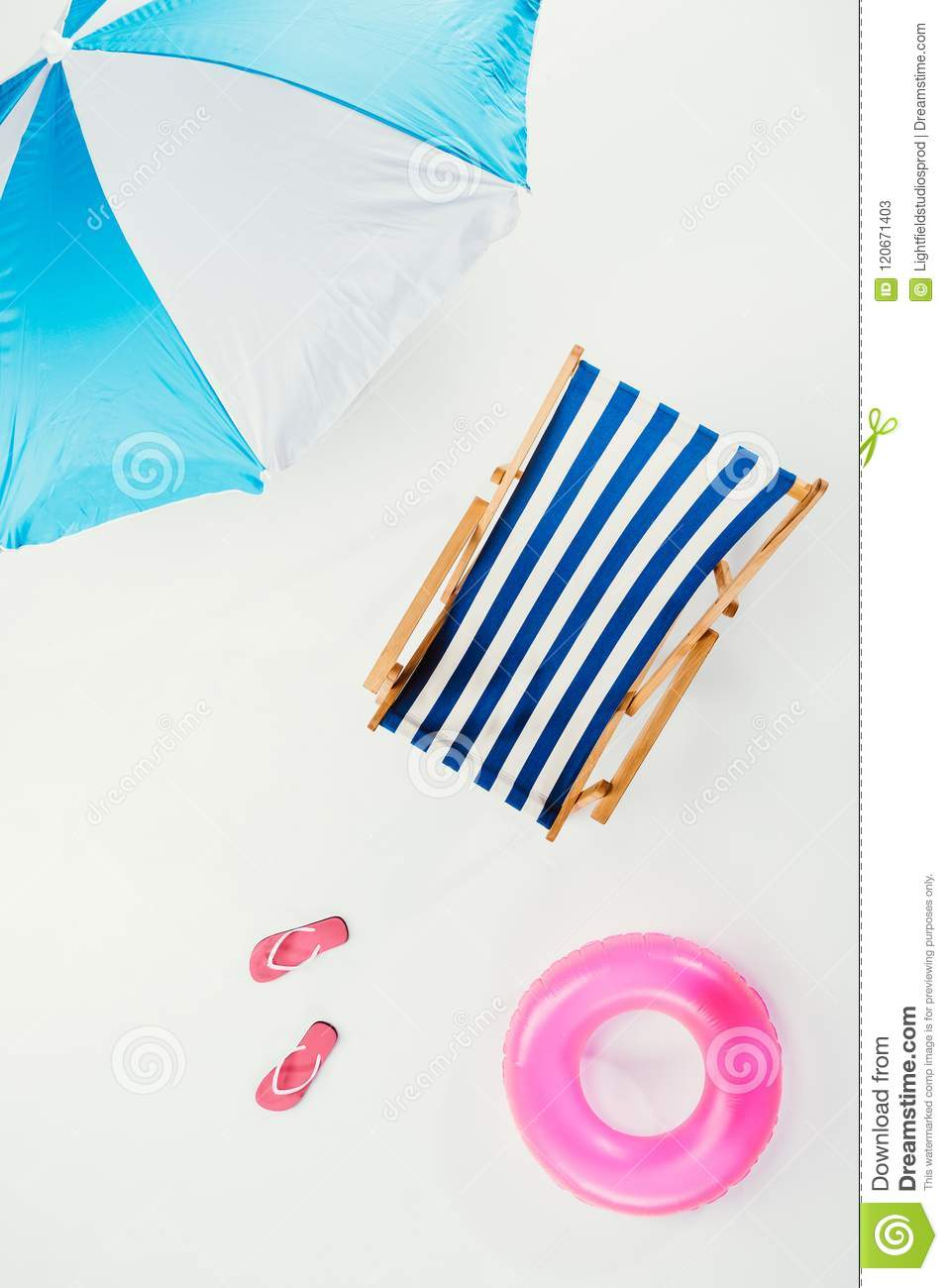 Flip Flop Chair Bed Top View Of Beach Umbrella Striped Beach Chair Flip Flops And