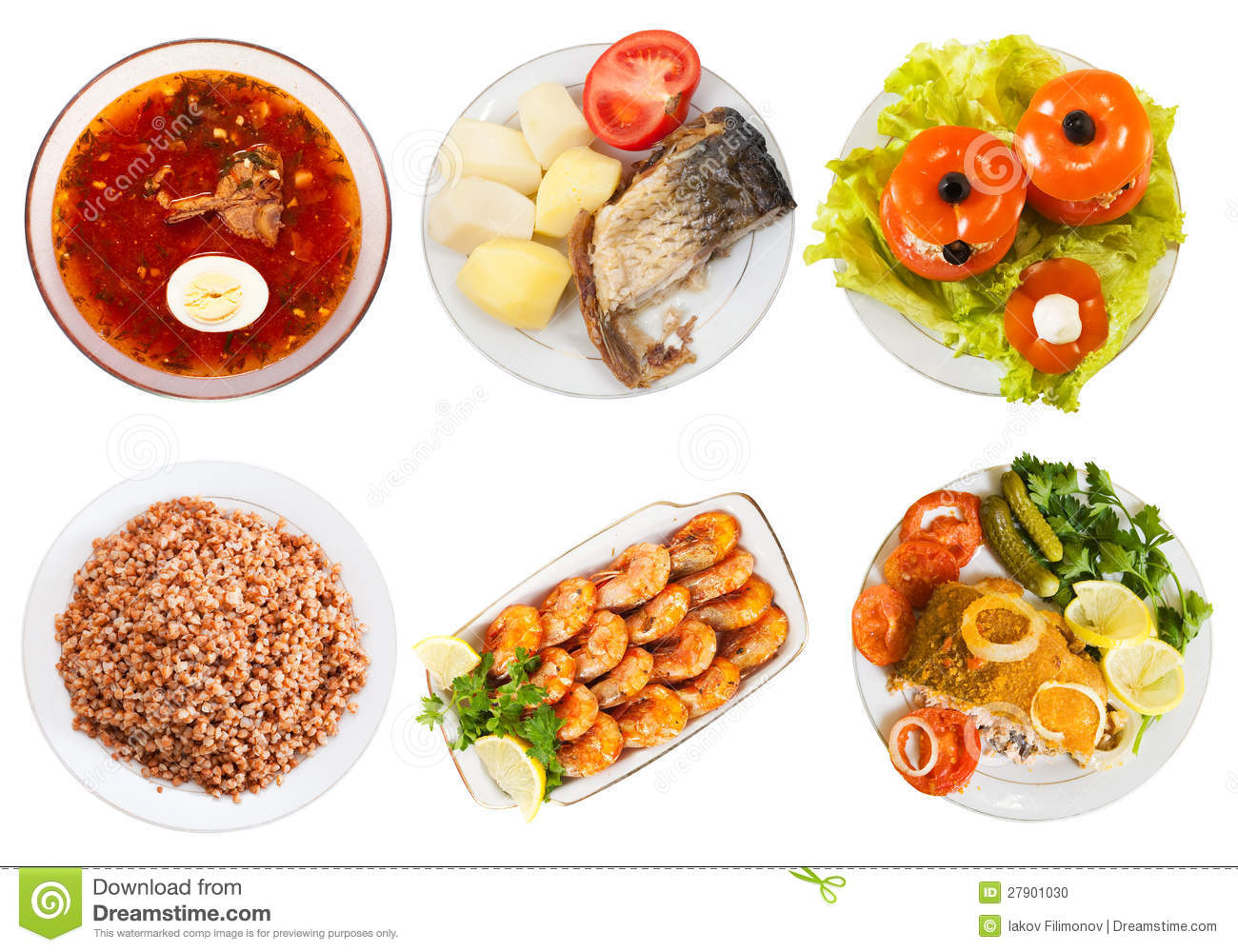 Plate With Food Top View Top View Of Few Plates With Food Stock Photo Image Of