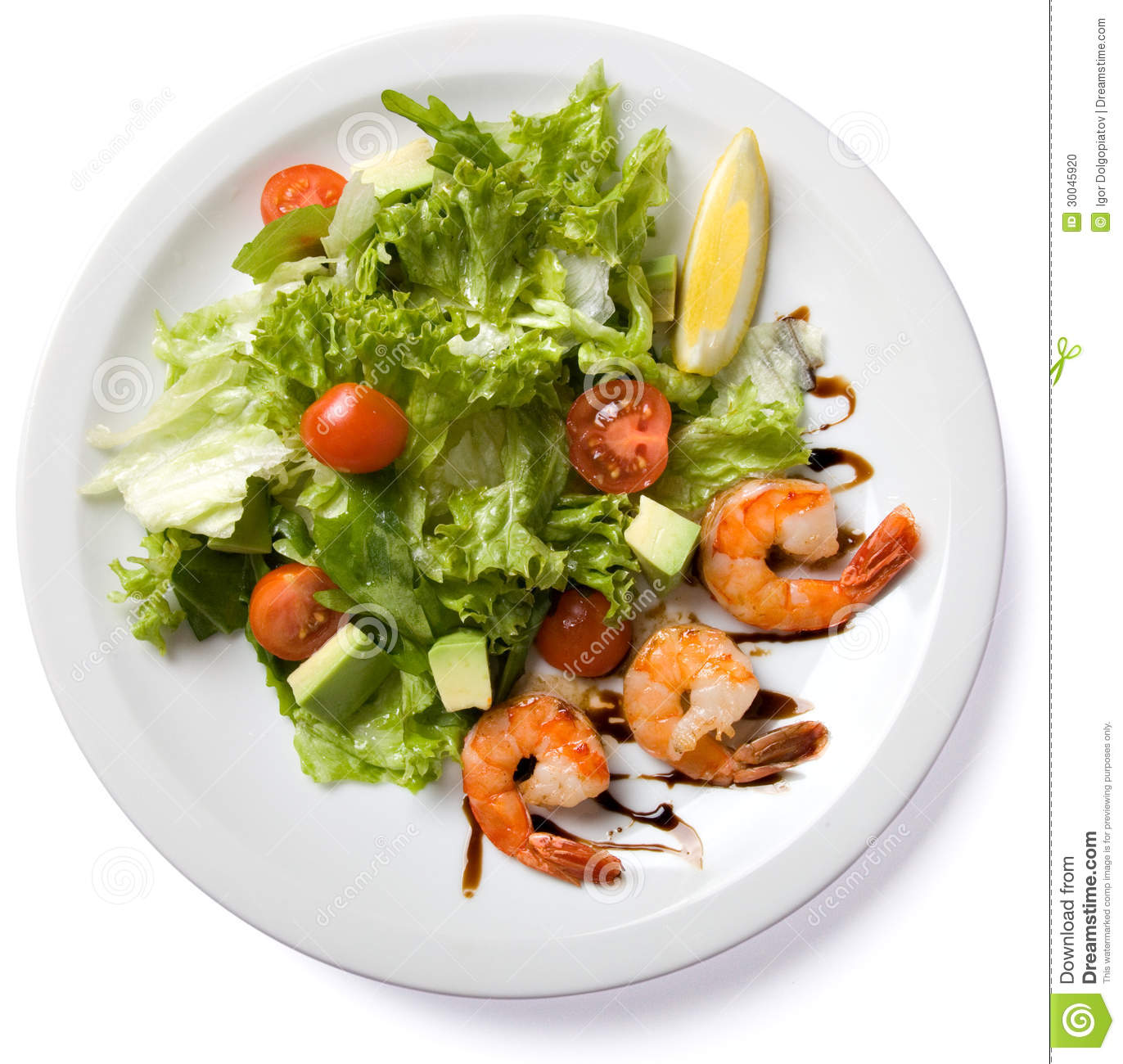 Plate With Food Top View Salad With Shrimp Served On White Plate Stock Photo