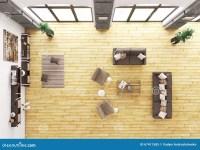 Top View Of Living Room Interior 3d Render Stock ...